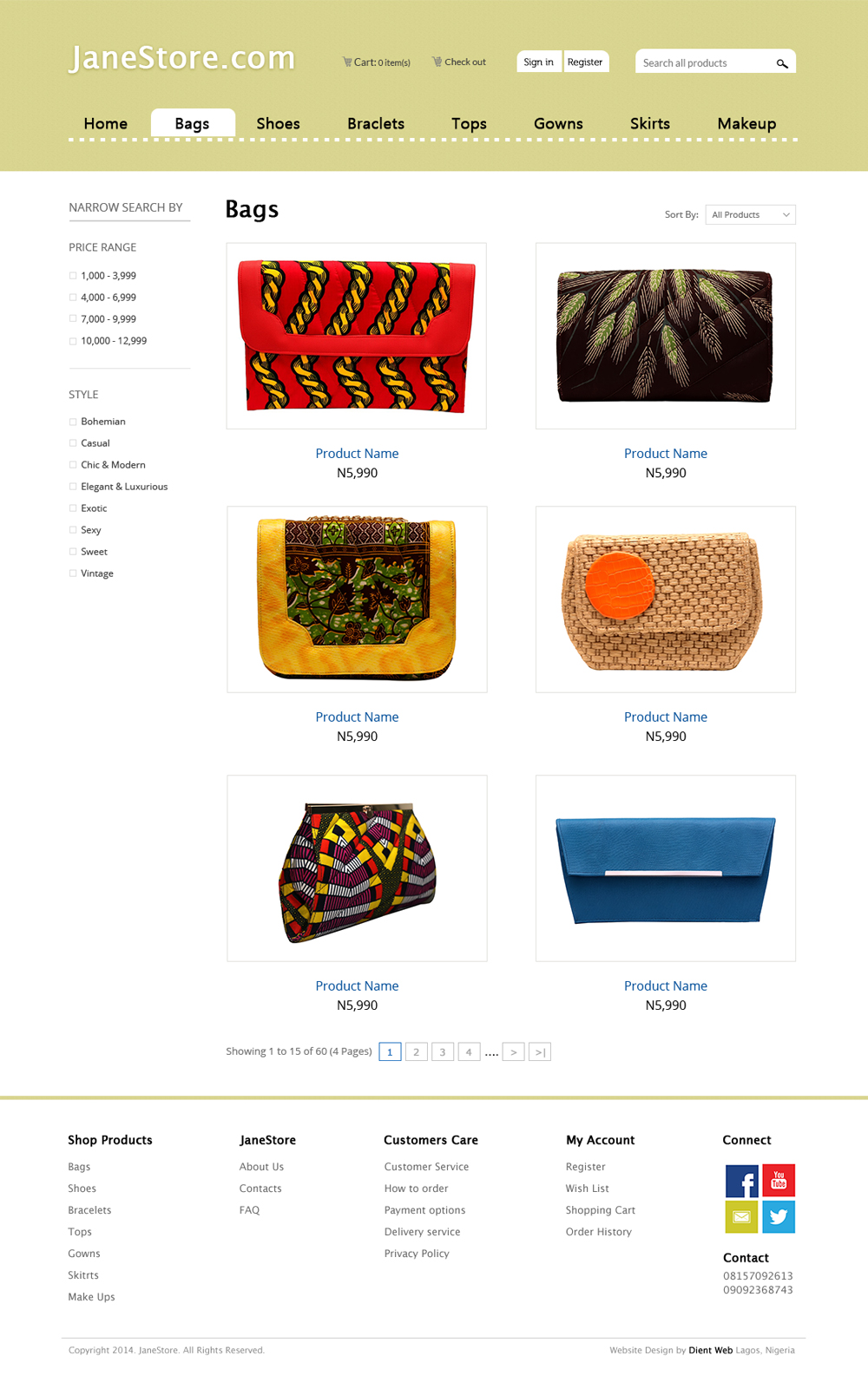 ecommerce website design - Janestore category page design