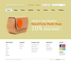 ecommerce website design by DientWeb Janestore home page design