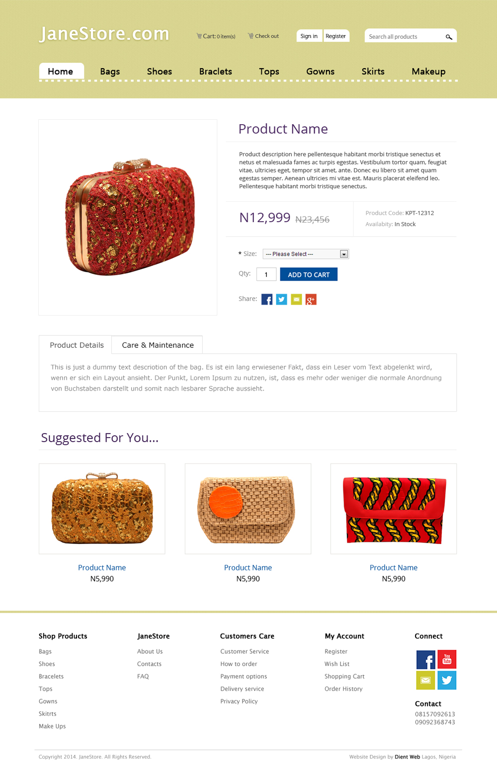 ecommerce website design by DientWeb Janestore product page design