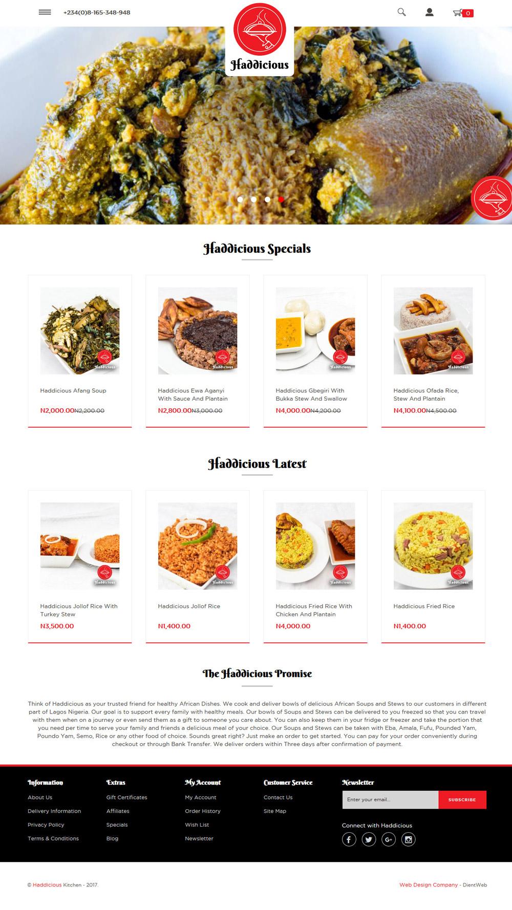 ecommerce website design for Haddicious by DientWeb best ecommerce developer in lagos nigeria