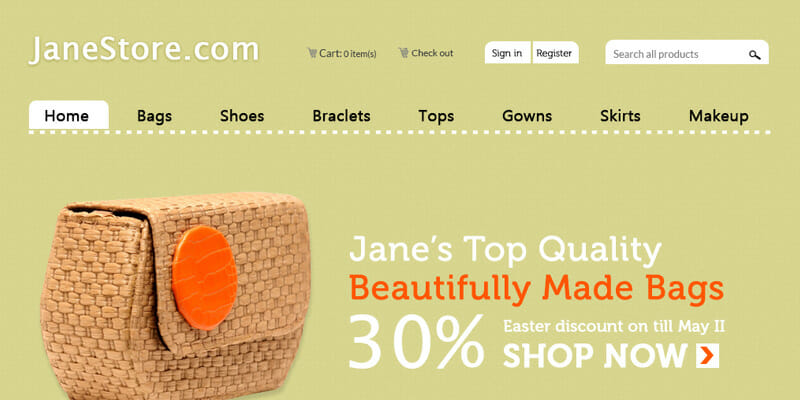 Janestore eCommerce website design by DientWeb