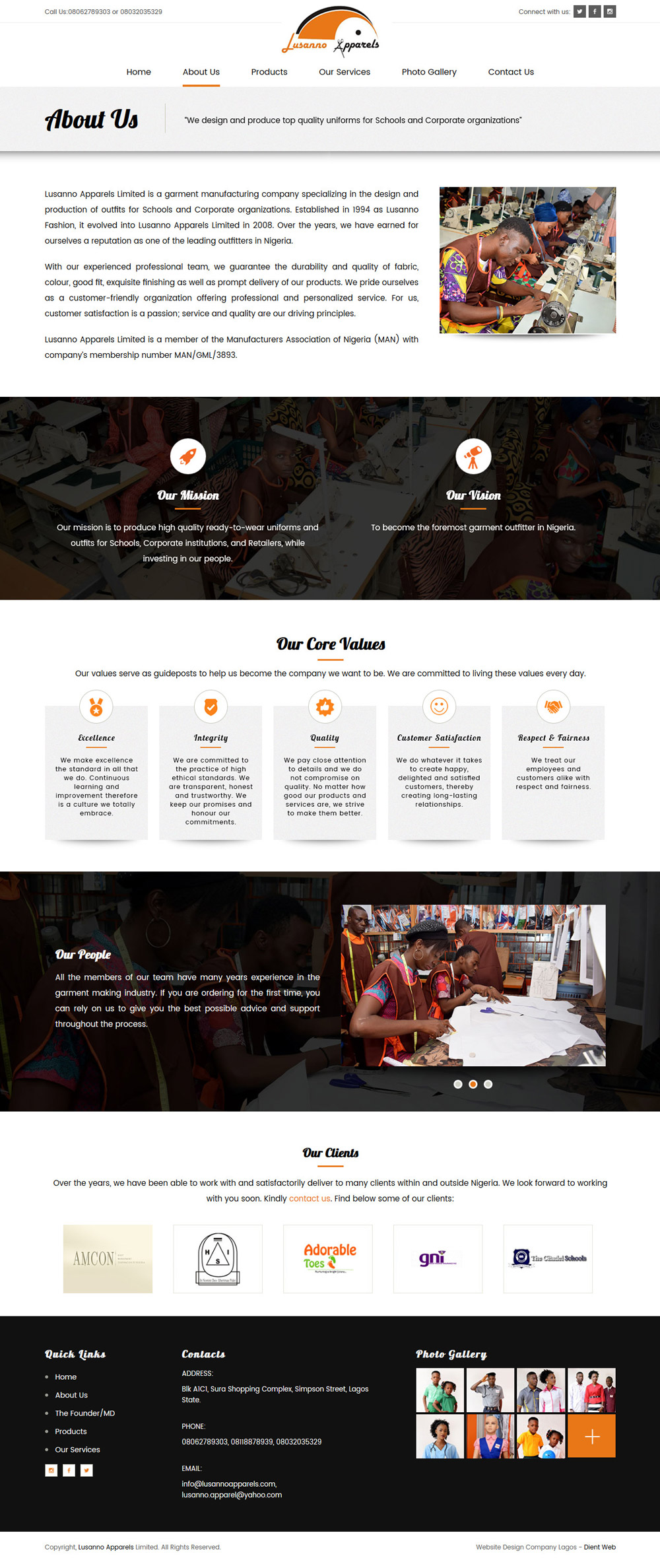 website design for lussano apparels by DientWeb the best web designer in lagos nigeria about us page design