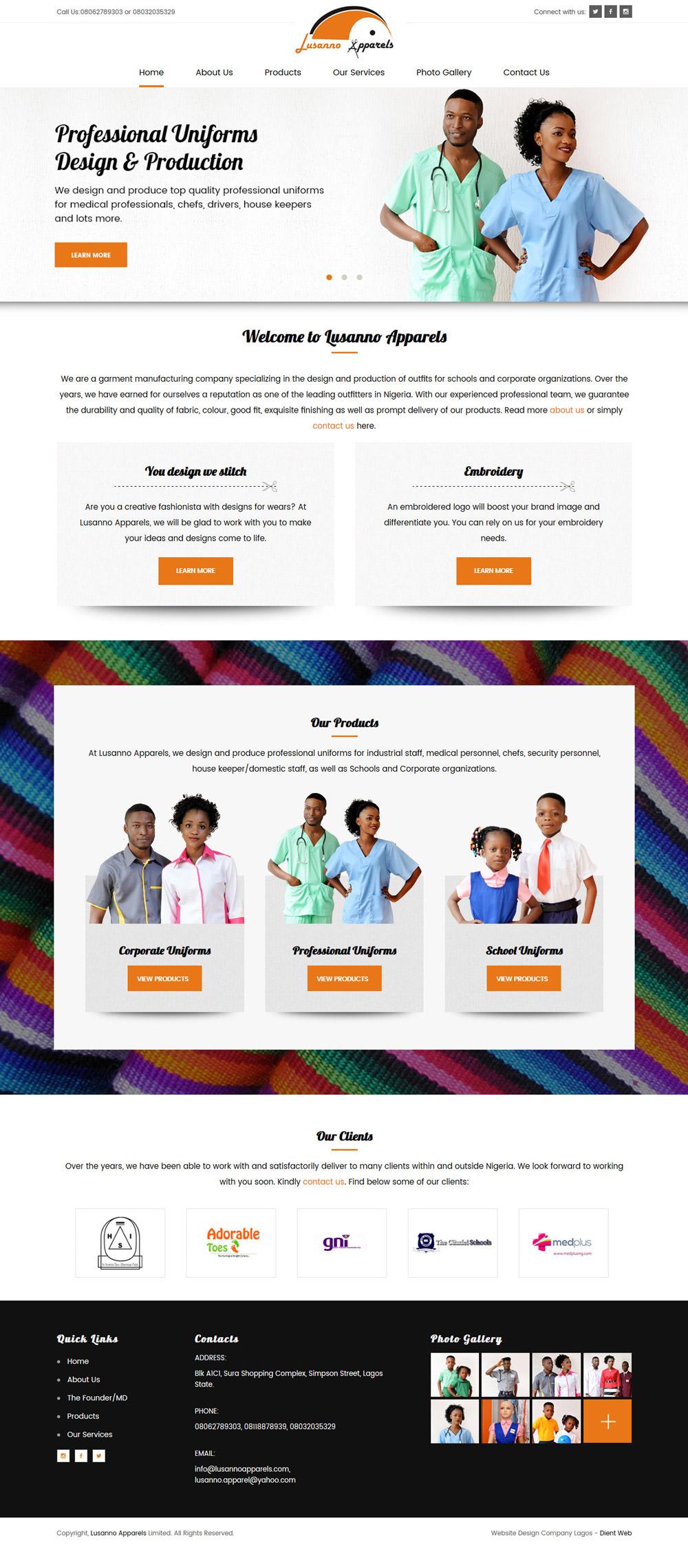 website design for lussano apparels by DientWeb the best web designer in lagos nigeria home page design