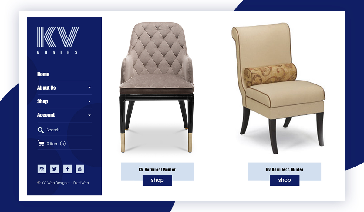 KV Chairs eCommerce website design by DientWeb -Home Page Second Scroll