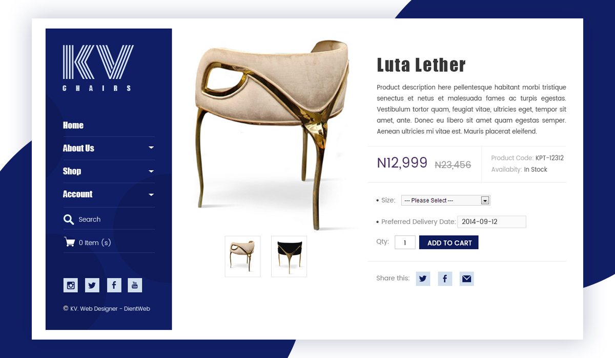 KV Chairs eCommerce website design by DientWeb -Product Page