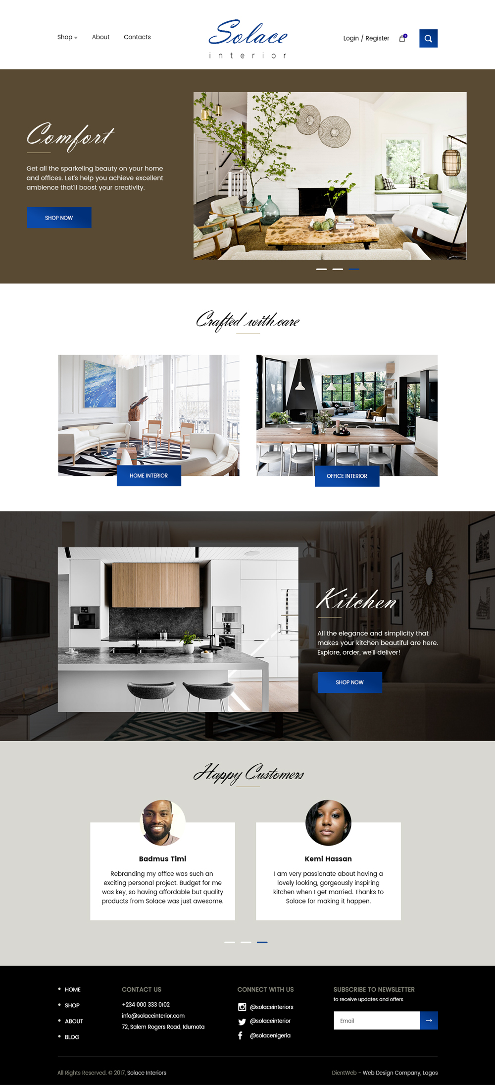 Solace ecommerce website design by DientWeb home page design