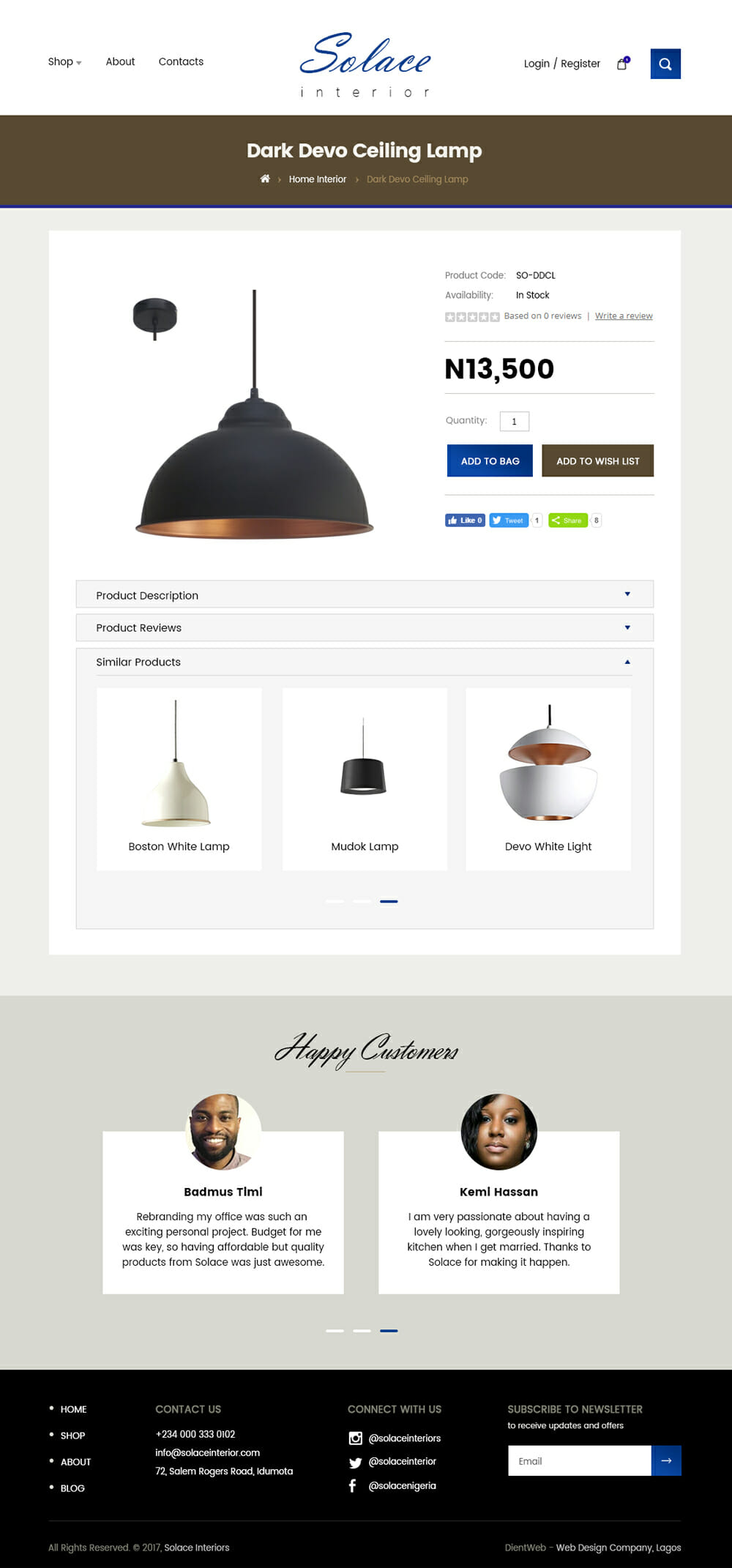 Solace ecommerce website design by DientWeb product page design
