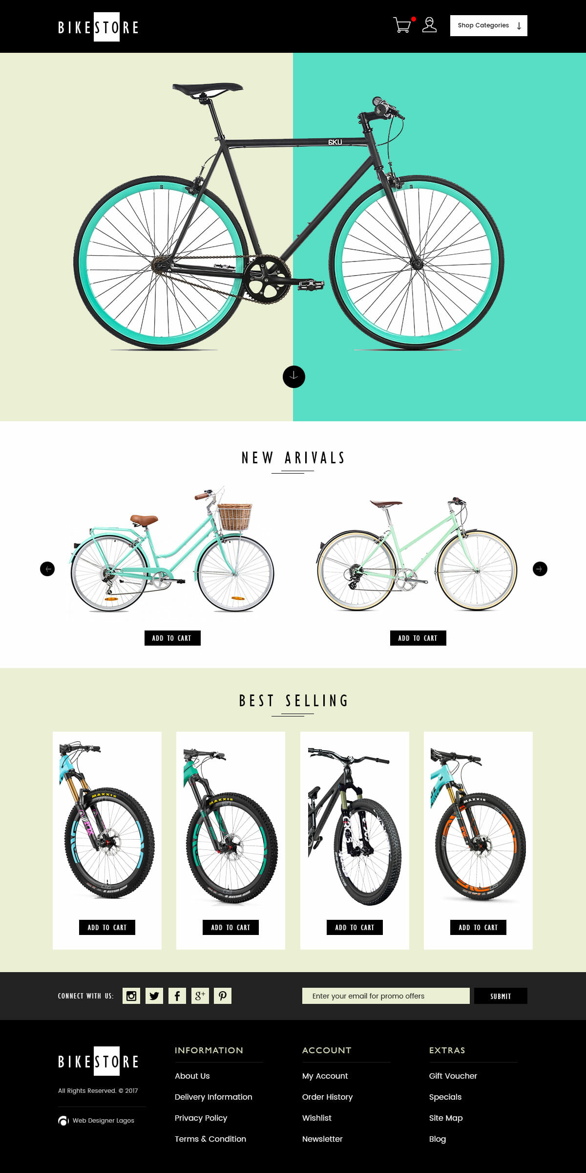 bikestore ecommerce website design by DientWeb - Desktop view