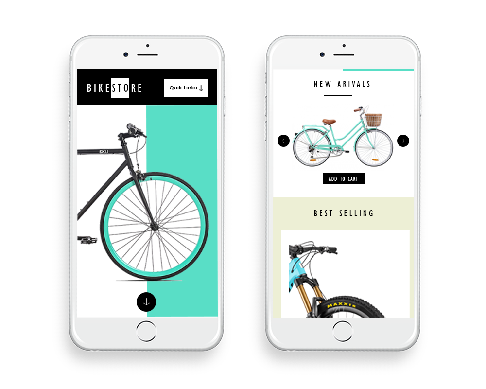 bikestore ecommerce website design by DientWeb - Mobile view1