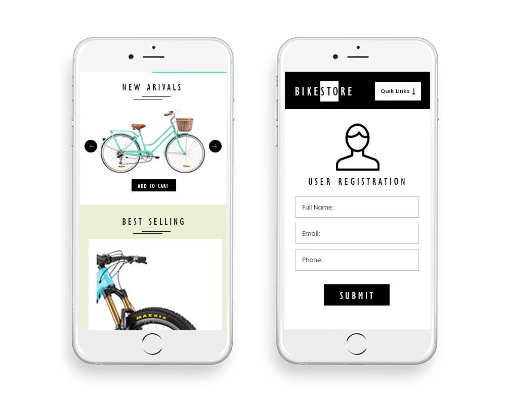 bikestore ecommerce website design by DientWeb - Mobile view2