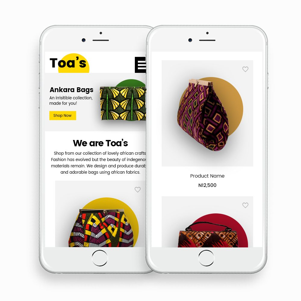 Toas Mobile eCommerce Website Design by DientWeb