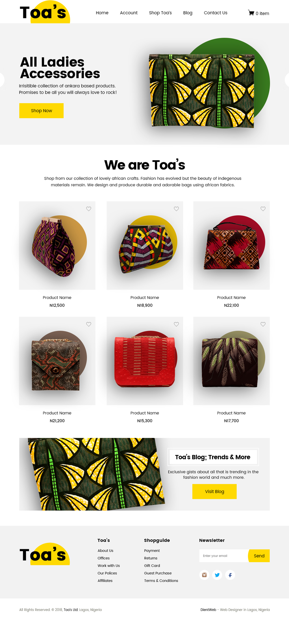 ecommerce website design by dientweb home page