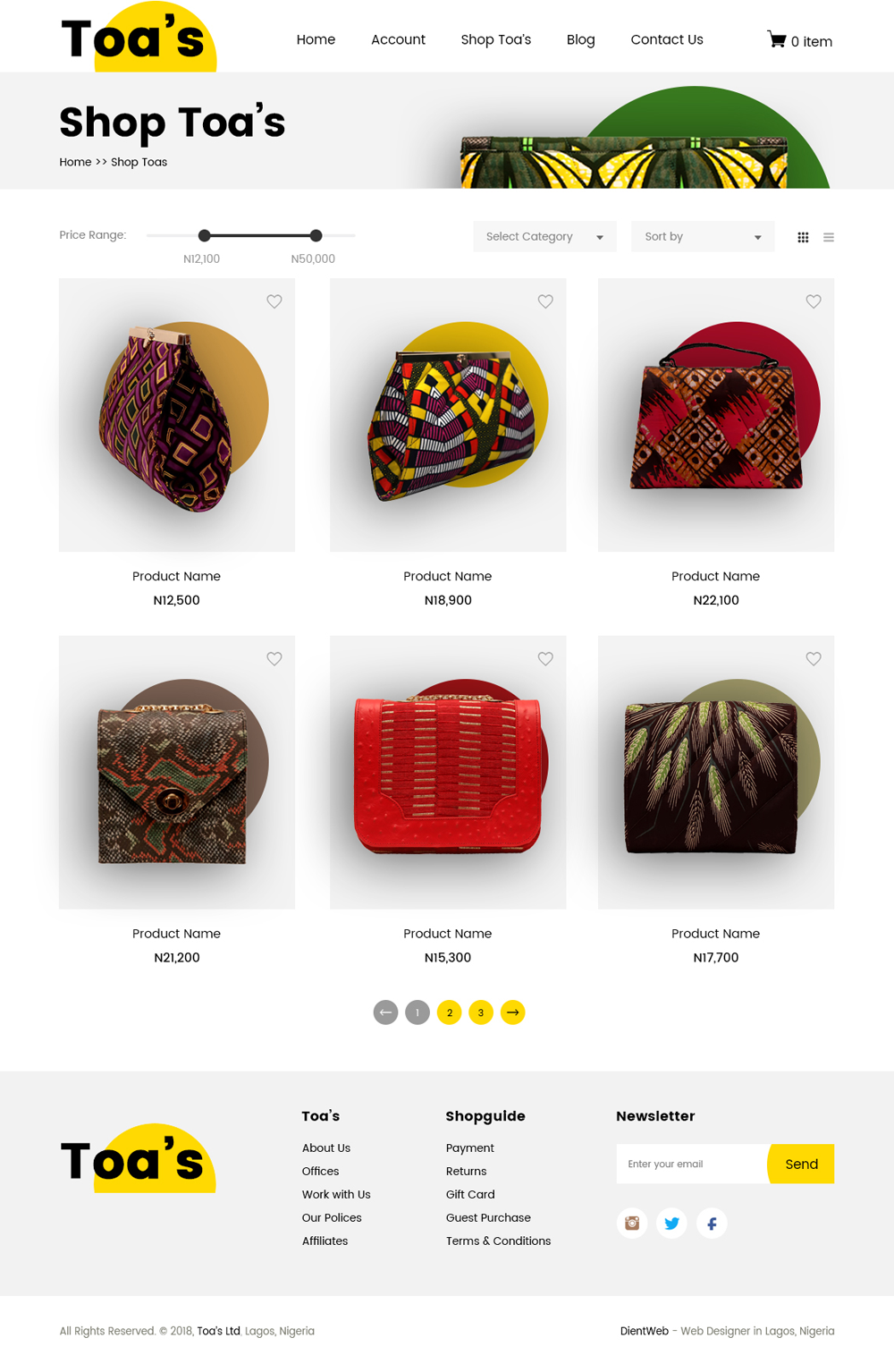 ecommerce website design by dientweb shop page