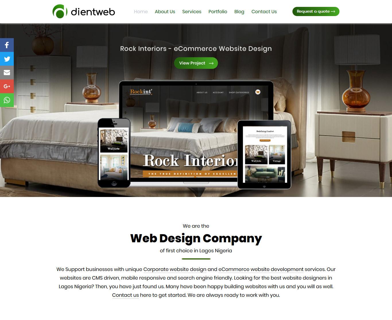 DientWeb web design company in lagos