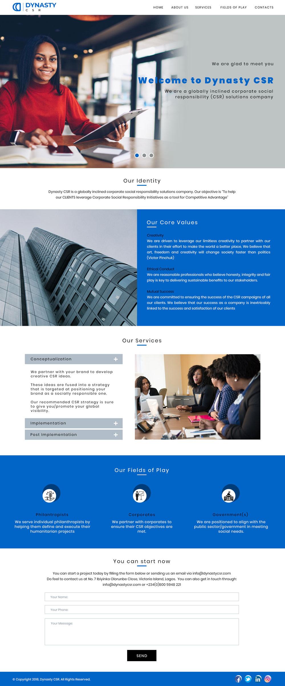 Dynasty CSR Website Design