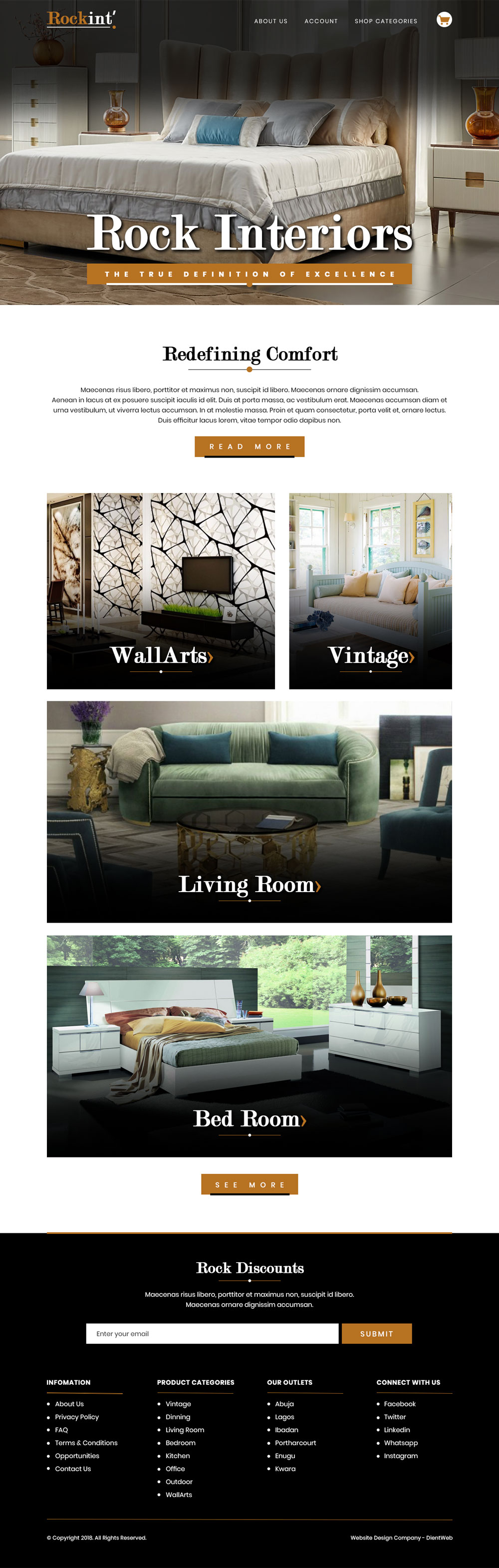 ecommerce website design for rock interiors