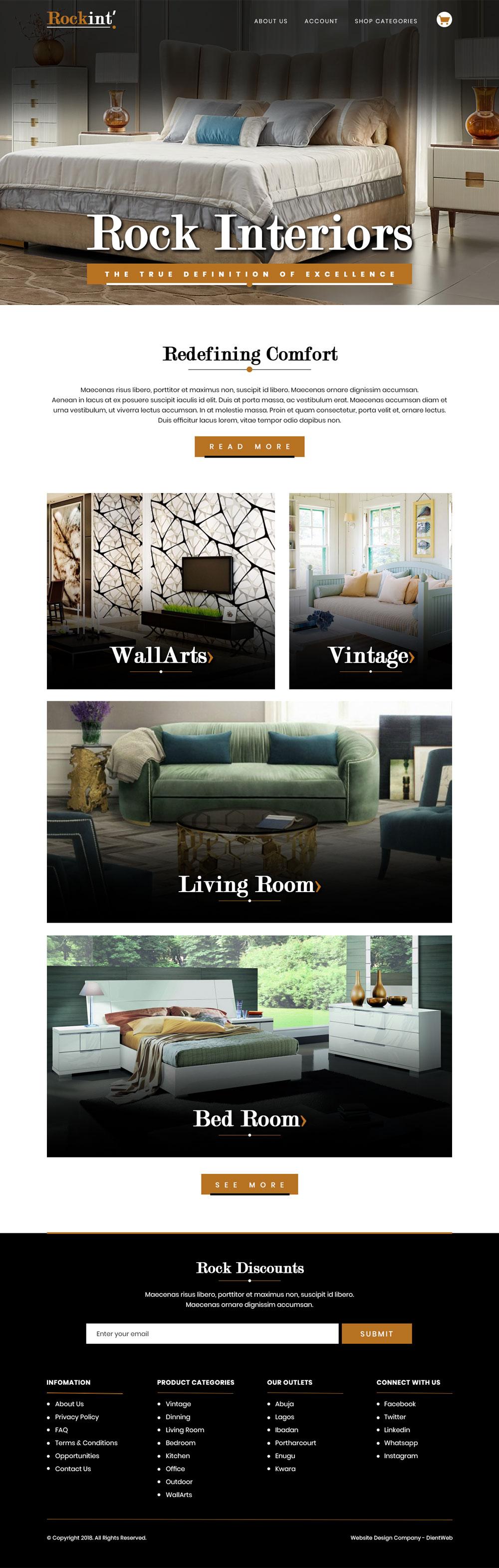 ecommerce website design for rock interiors