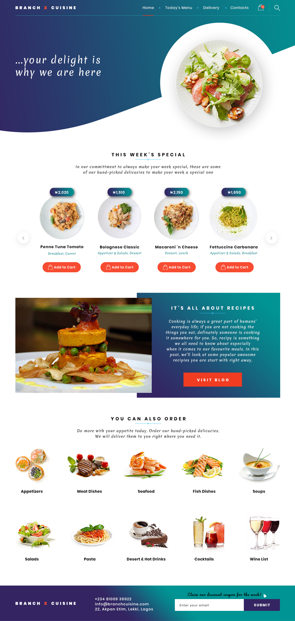 branch cuisine eCommerce website design by DientWeb