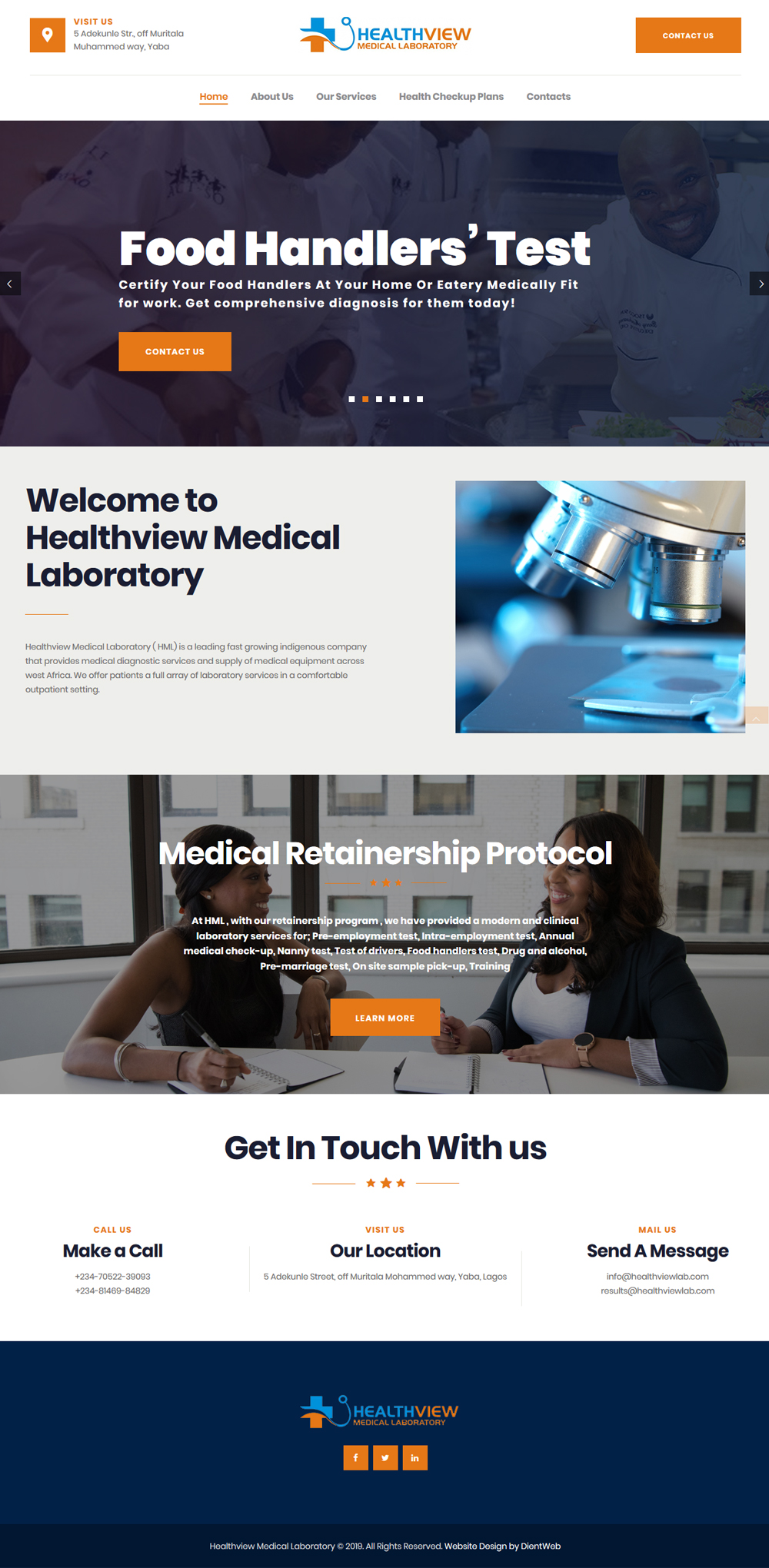 healthview website design home page