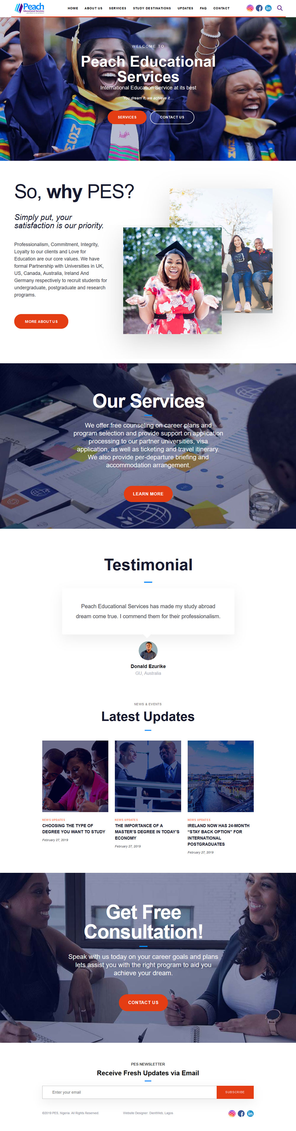 peach educational website design