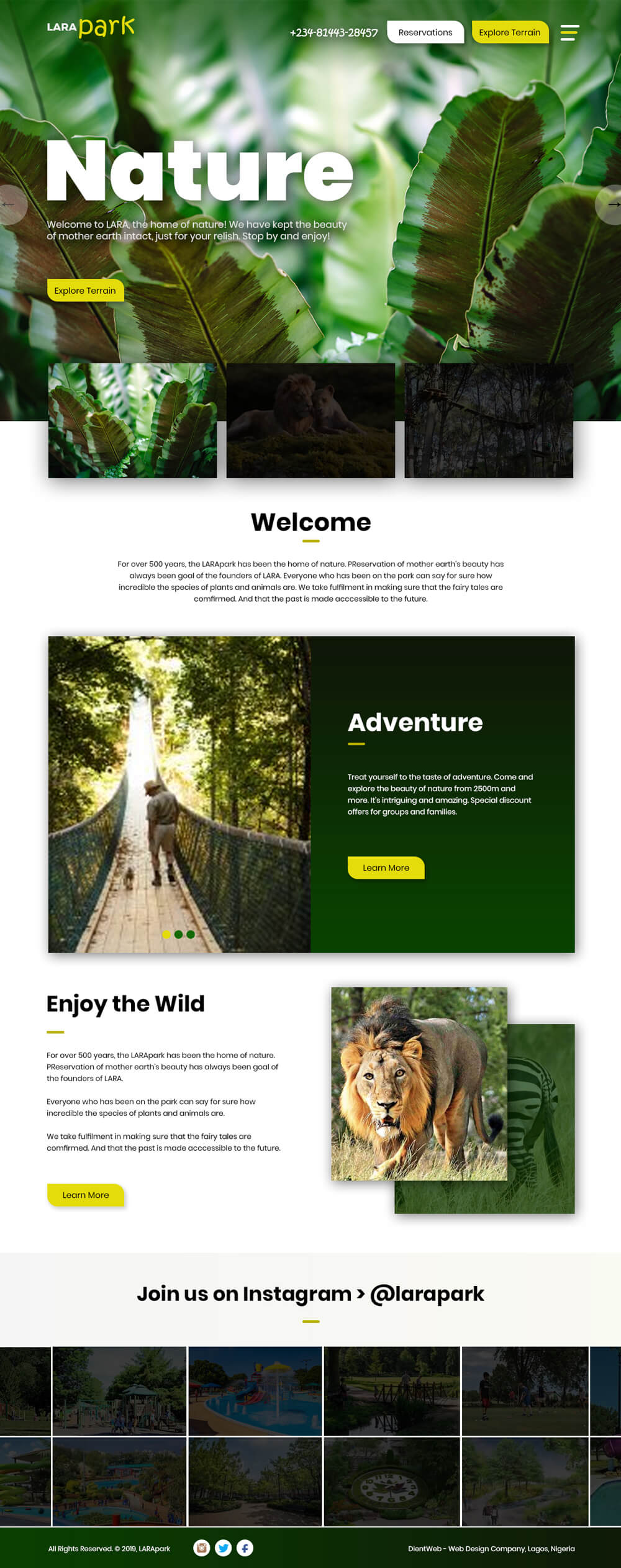lare park website design
