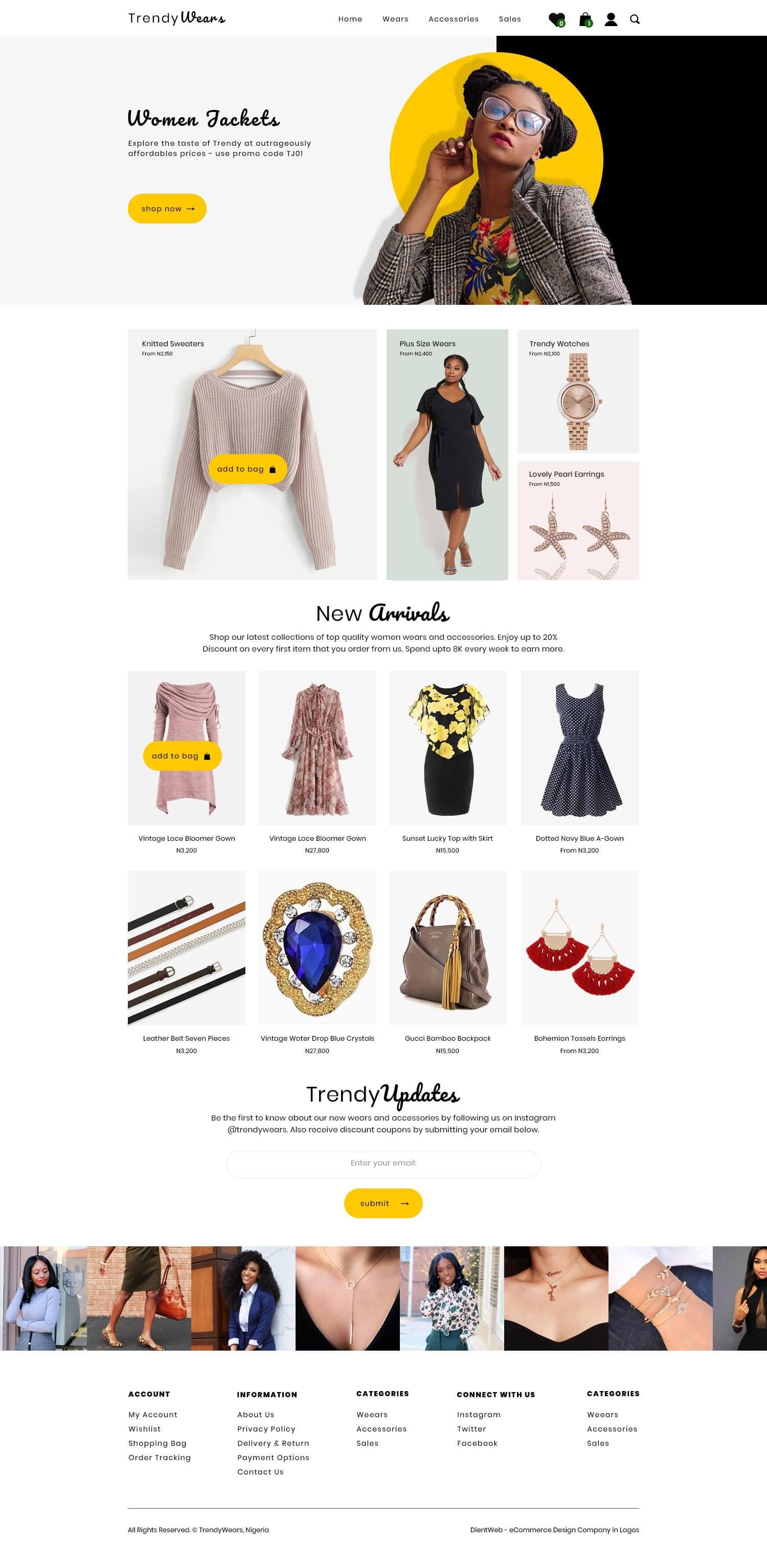 trendy wears ecommerce website design