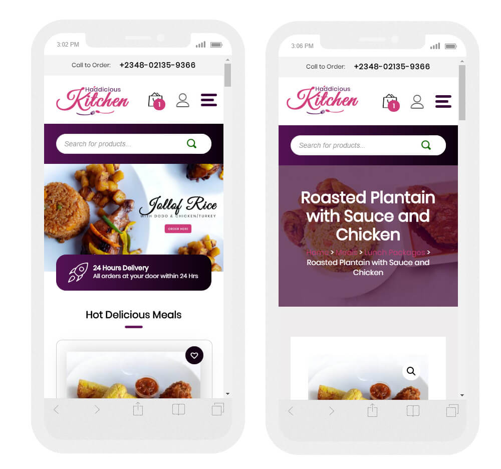 ecommerce mobile pages website design