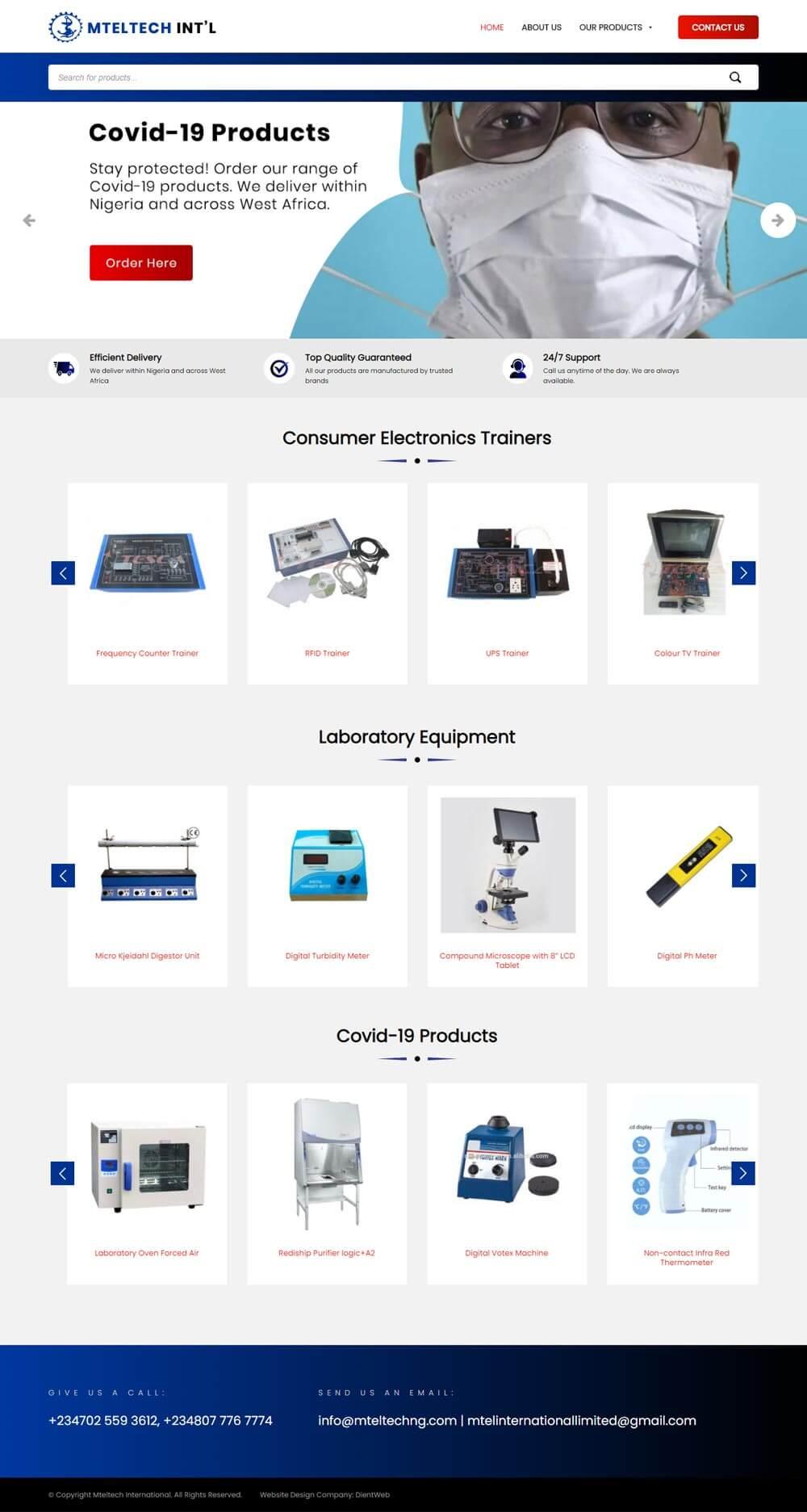 mteltech ecommerce website design