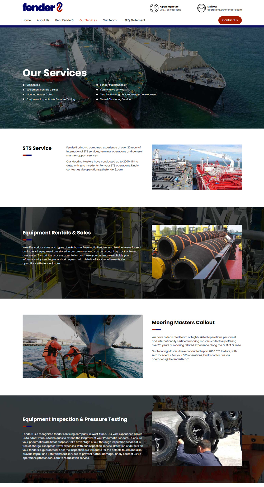 marine service company website redesign for fender8