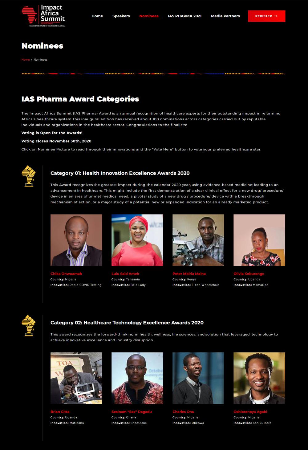 impact africa summit website design